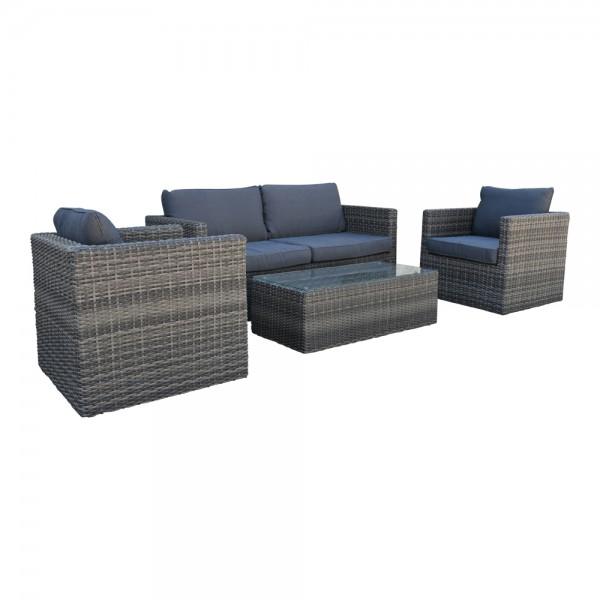 Lounge Lima Sitzgarnitur Gartenmöbel Sofa Polyrattan mit Tisch Grau